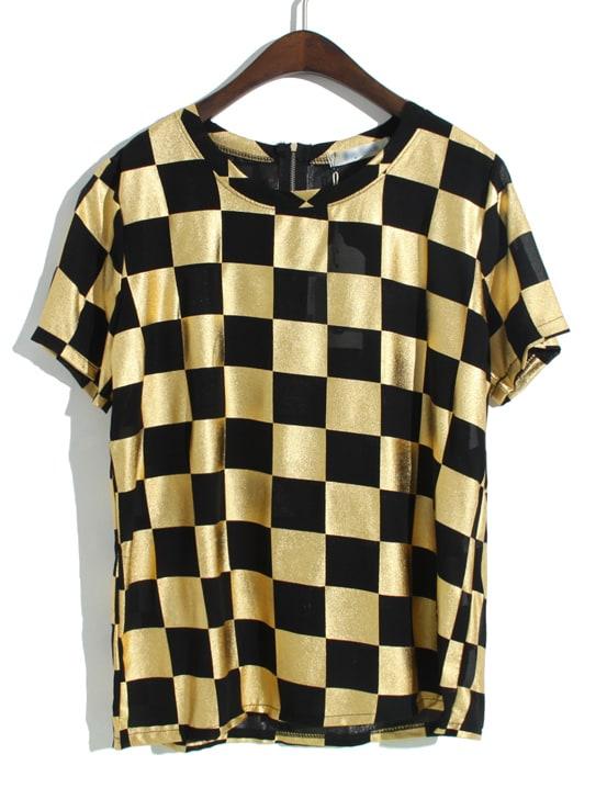 Black Gold Short Sleeve Plaid Zipper Chiffon T-Shirt -SheIn(Sheinside)