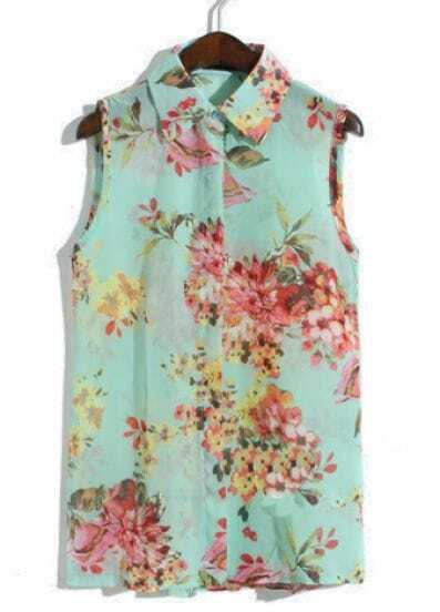 Green Sleeveless Metal Embellished Floral Blouse