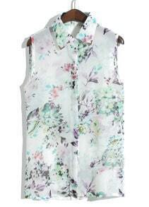 White Sleeveless Metal Embellished Floral Blouse