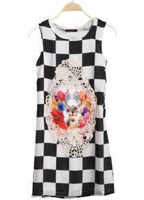 Black White Sleeveless Plaid Sika Deer Print Dress