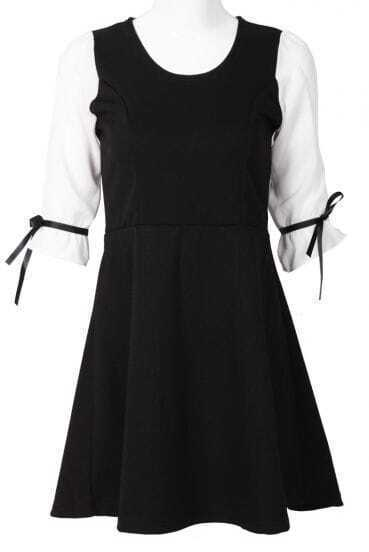 Black Contrast Half Sleeve Ribbon Dress