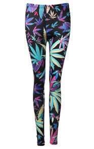 Black Skinny Elastic Maple Leaf Print Pant