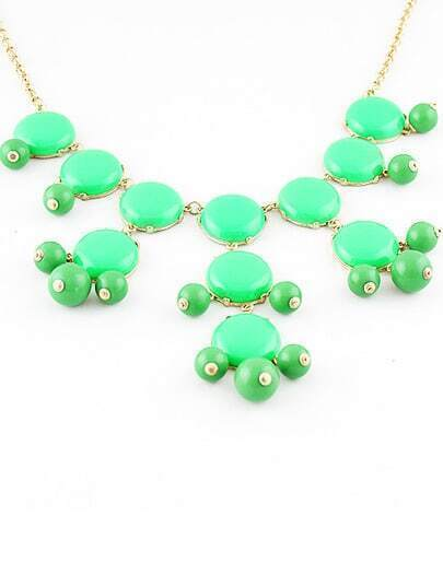 Green Bead Round Necklace