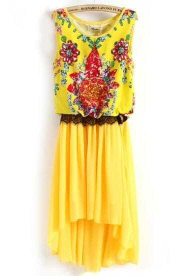 Yellow Sleeveless Gemstone Print Lace High Low Dress