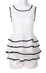 White Sleeveless Embroidery Tiered Ruffle Top with Shorts