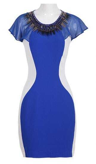 Blue Short Sleeve Rivet Zipper Bodycon Dress