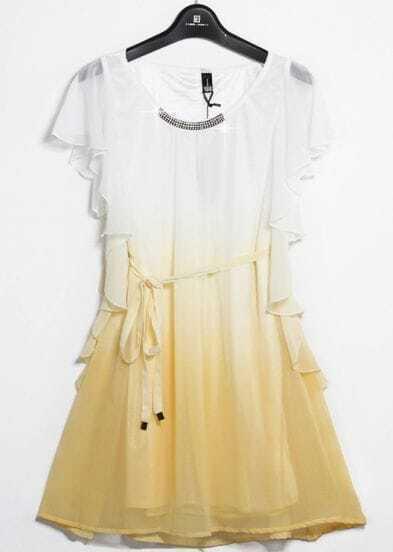 Yellow Sleeveless Ruffles Drawstring Bead Dress