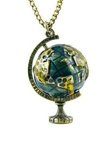 Retro Gold Globe Telescope Necklace