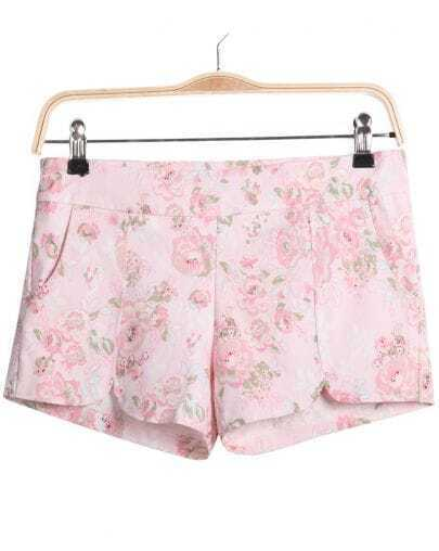 Pink Floral Split Pockets Shorts