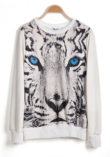 White Long Sleeve Tiger Face Print Sweatshirt