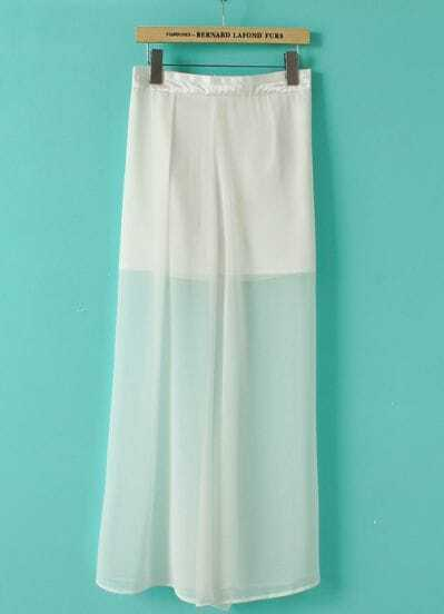 White Zipper Chiffon Full-Length Skirt