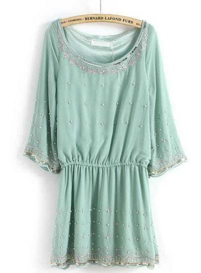 Green Long Sleeve Bead Bandeau Chiffon Dress