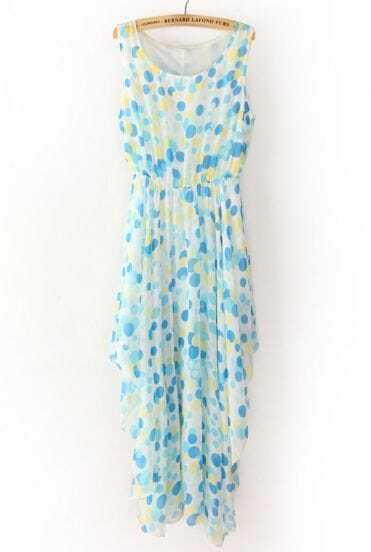 Blue Sleeveless Polka Dot Asymmetrical Chiffon Dress