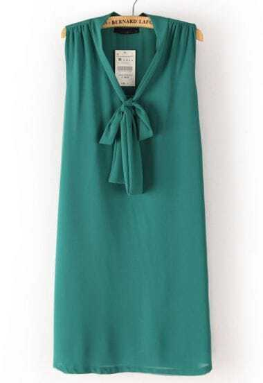 Green Sleeveless Ribbon Bow Chiffon Dress