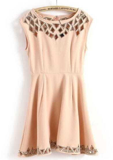 Pink Sleeveless Hollow Back Zipper Dress