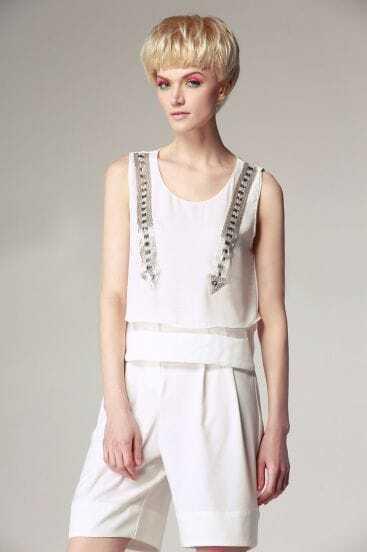 White Sleeveless Beading Arrowheads Chiffon Top with Shorts