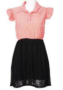 Red Black Sleeveless Polka Dot Embroidery Dress