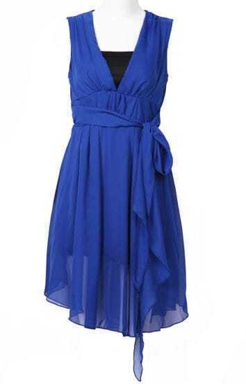 Blue Sleeveless Asymmetrical Ribbon Chiffon Dress