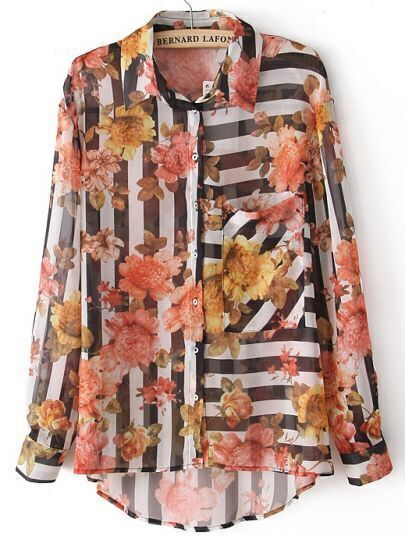 Black White Striped Long Sleeve Floral Blouse
