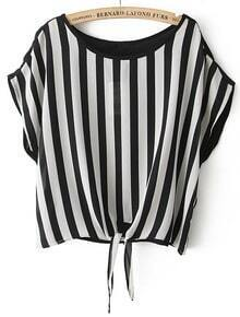 Black White Vertical Stripe Batwing Chiffon Blouse