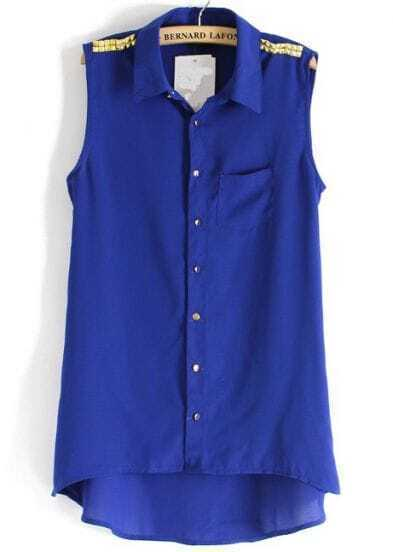 Blue Sleeveless Epaulet Dipped Hem Blouse