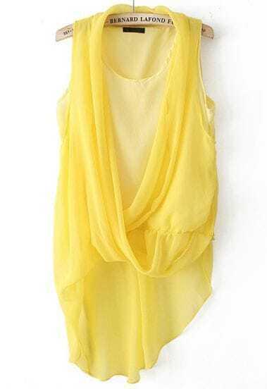 Yellow Sleeveless Asymmetrical Chiffon Blouse
