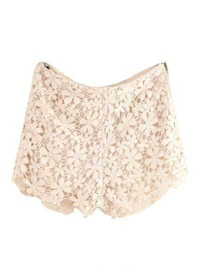 Beige Hollow Zipper Embroidery Lace Shorts