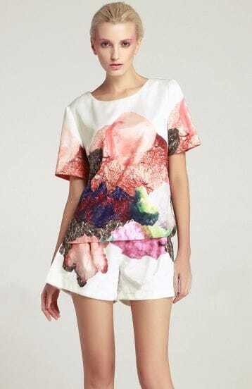White Short Sleeve Watercolours Florals Top with Shorts