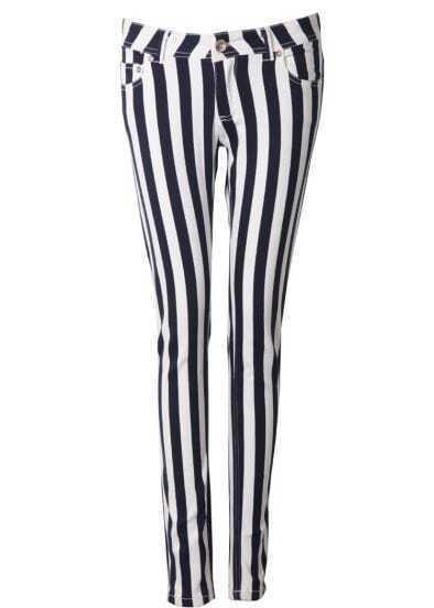 Black White Vertical Stripe Pockets Pant