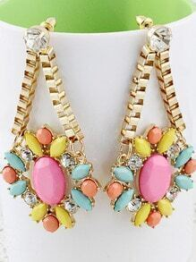 Multi Gemstone Gold Crystal Chain Earrings