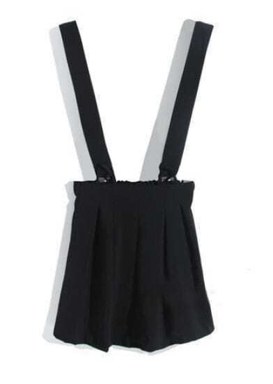 Black Strap Elastic Waist Pleated Skirt