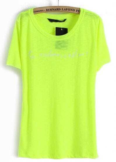 Light Green Short Sleeve Letters Print T-Shirt