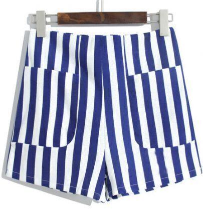Blue White Vertical Stripe Pockets Shorts