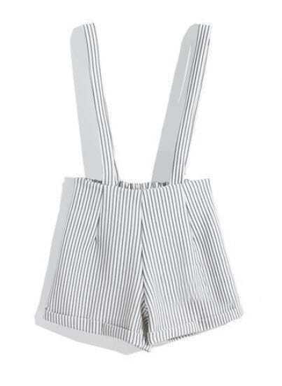 White Vertical Stripe Strap Shorts