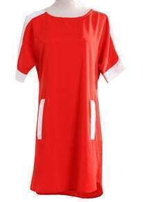 Red Short Sleeve Contrast Shoulder Pockets Loose Dress