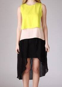 Yellow White Black Sleeveless Zipper High Low Dress