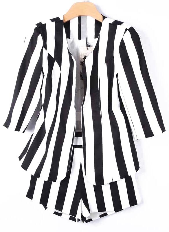 Black White Vertical Stripe Blazers With Shorts -SheIn(Sheinside)
