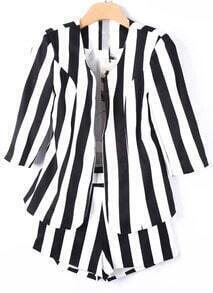 Black White Vertical Stripe Blazers With Shorts