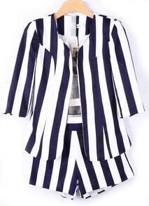 Blue White Vertical Stripe Blazers With Shorts