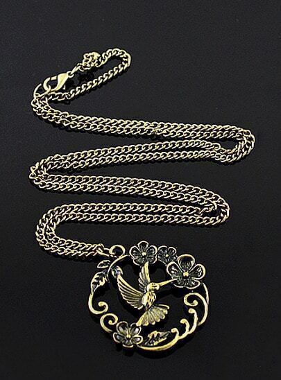 Gold Flower Bird Necklace