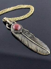 Retro Gold Feather Necklace
