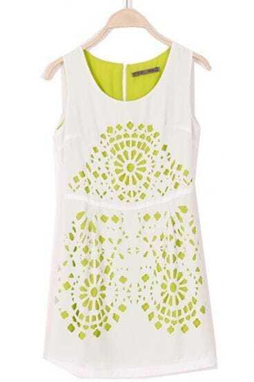White Sleeveless Hollow Back Zipper Sundress