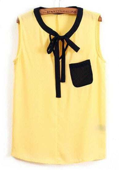 Yellow Sleeveless Lacing Pockets Chiffon Blouse