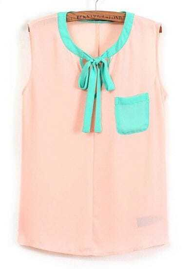 Pink Sleeveless Lacing Pockets Chiffon Blouse