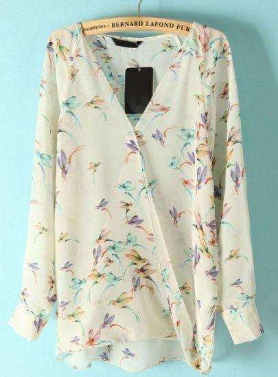 Beige Long Sleeve Hummingbird Print Chiffon Blouse