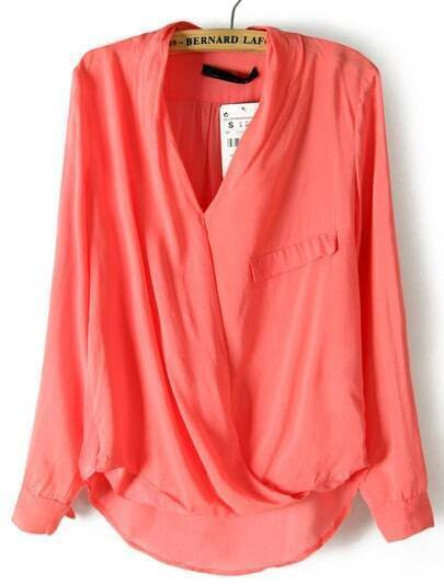 Red Long Sleeve Front Cross Dipped Hem Blouse