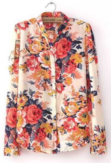 Pink Stand Collar Long Sleeve Floral Chiffon Blouse