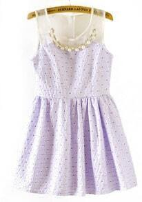 Purple Contrast Organza Pearls Polka Dot Dress