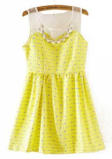 Yellow Contrast Organza Pearls Polka Dot Dress