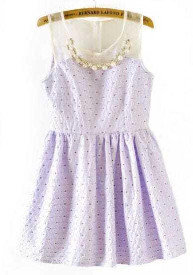 Purple Contrast Organza Pearls Polka Dot Dress